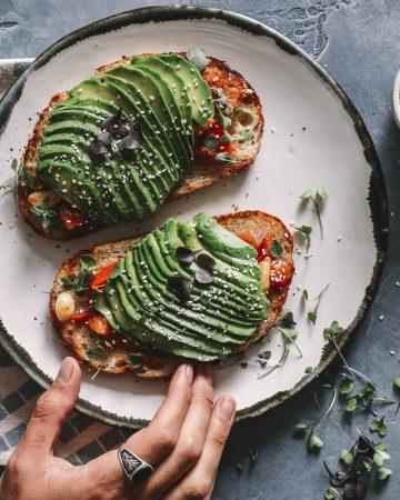 Breakfast avocado bruschetta